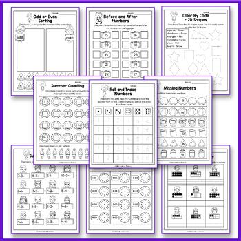 Summer Activities For Kindergarten - Summer Math Worksheet