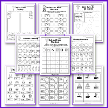Summer Math Worksheet, End of Year Activities Math, Summer Packet Kindergarten
