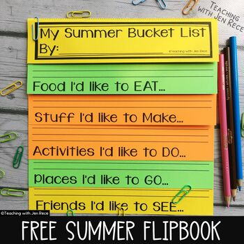 Summer Bucket List NO CUT flip book - 5 versions