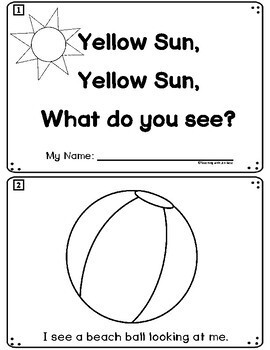 Summer Emergent Reader: Yellow Sun, Yellow Sun, What Do You See? + Pocket Cards