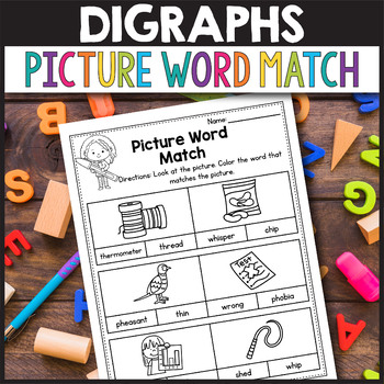 TH Digraphs Worksheets - Picture Word Match