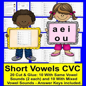 Short Vowels Cut & Glue, Rainbow Words, Tracing!  SET TWO