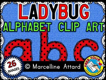 LADYBUG THEME CLIPART: LADYBUG ALPHABET CLIPART: LADYBUG C