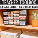 Teacher Toolbox Labels Editable - Watercolor Classroom Decor