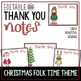 Thank You Notes Editable Christmas Folk Time Theme