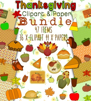 50% OFF Thanksgiving Clipart and Paper Bundle - 47 items