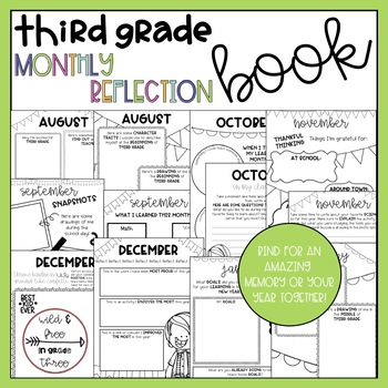 Third Grade Monthly Reflection and Memory Book
