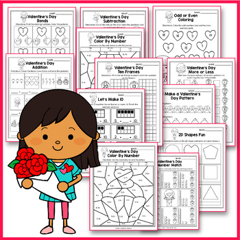 Valentine's Day Activities Kindergarten,  Valentines Day Math Worksheet