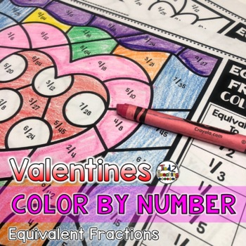 Valentine's Day Coloring Pages Equivalent Fractions Color by Number