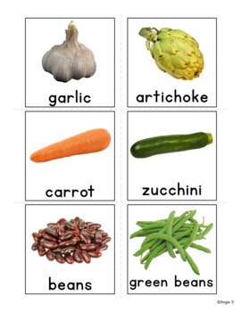 Vegetables Vocabulary Flashcards