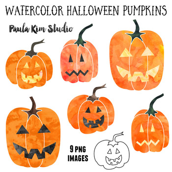 Watercolor Halloween Pumpkin Clip Art