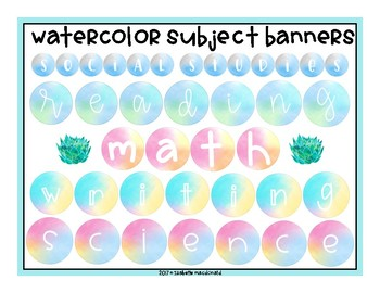 Watercolor Subject Banners or Bulletin Board Letters