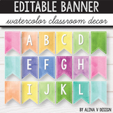 Welcome Banner  Word Wall Banner Watercolor Themed Classroom
