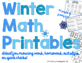 Winter Math Printables-40 Pages!