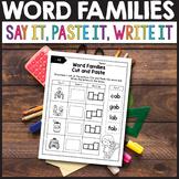 Word Families Kindergarten, Word Families Cut and Paste