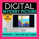Preterite CAR GAR ZAR Verbs Digital Mystery Picture | Flower Market Pixel Art