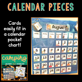 Camping Themed Calendar Pieces and Vocabulary Cards