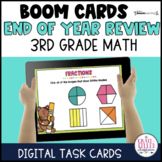 End of Year Math Review 3rd Grade Digital Boom Task Cards