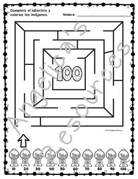 Spanish 100th Day of School : Cien dias de escuela - Mazes - Problem Solving