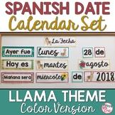Spanish Date Calendar Pieces: Color Llama Theme
