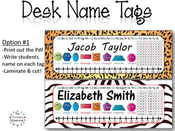 Editable Jungle Zoo Safari Name Plates