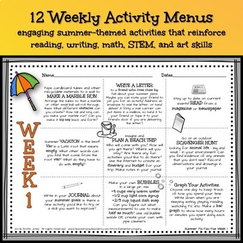 Weekly At Home Menus for ELA, Math and STEAM - Summer Theme Distance Learning