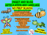 Insects and Bugs Articulation and Language BUNDLE Worksheets No Prep! Print & Go