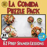 Spanish La COMIDA. Spanish Food Vocabulary Puzzles and Spa