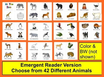 Zoo Field Trip Differentiated Readers-2 Levels - 42 Animals +70 Word Wall w/pics