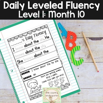 Reading Fluency Passages & Interactive Notebook Strips Level 1 Month 10