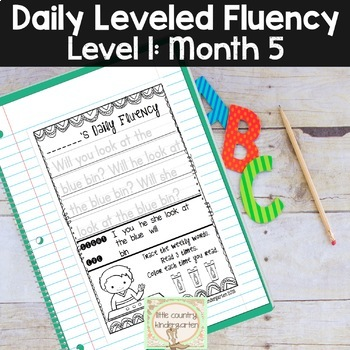 Reading Fluency Passages & Interactive Notebook Strips Level 1 Month 5