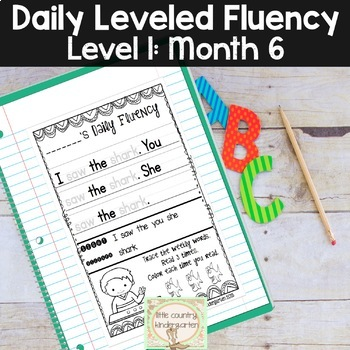Daily Fluency Passages & Interactive Notebook Strips Level 1 Month 6