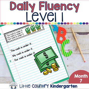 Reading Fluency Passages & Interactive Notebook Strips Level 1 Month 7