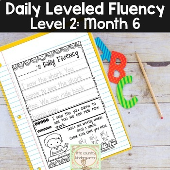 Daily Fluency Passages & Interactive Notebook Strips Level 2 Month 6