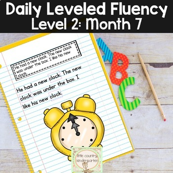 Daily Fluency Passages & Interactive Notebook Strips Level 2 Month 7