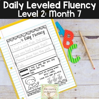 Reading Fluency Passages & Interactive Notebook Strips Level 2 Month 7