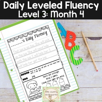 Reading Fluency Passages & Interactive Notebook Strips Level 3 Month 4