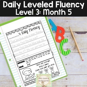 Reading Fluency Passages & Interactive Notebook Strips Level 3 Month 5