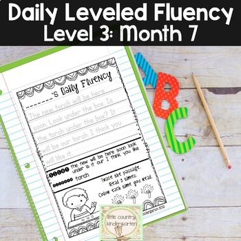 Daily Fluency Passages & Interactive Notebook Strips Level 3 Month 7