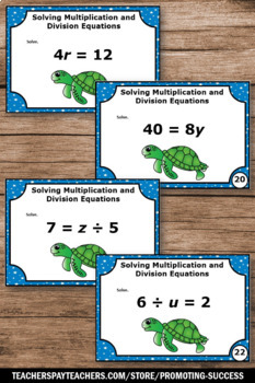 Evaluating Expressions, Solving Algebraic Equations, Multiplication and Division