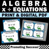 Algebra Task Cards, Algebraic Equations 5th Grade Math Review