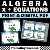 Algebra Task Cards, Solving Algebraic Equations 5th Grade Math Review Games