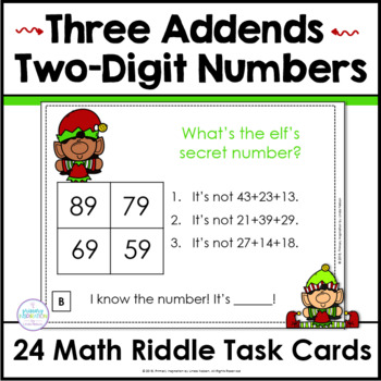 Add Three Two-Digit Numbers Math Riddle Task Cards