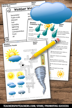 Weather Crossword Puzzle, 5th Grade Science Review, Weather Unit