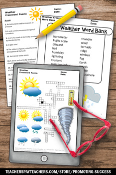 Weather Crossword Puzzle, 5th Grade Weather Vocabulary Activity Worksheet