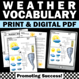 Weather Vocabulary Activity, Science Crossword Puzzle Worksheet Early Finishers