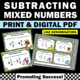 Subtracting Mixed Numbers Task Cards, 4th Grade Fraction Task Cards
