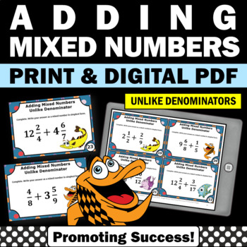 Adding Fractions with UNLIKE Denominators and Mixed Numbers Task Cards