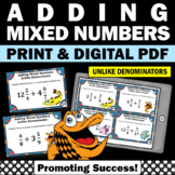 Adding Mixed Numbers with UNLIKE Denominators, 5th Grade Fraction Task Cards