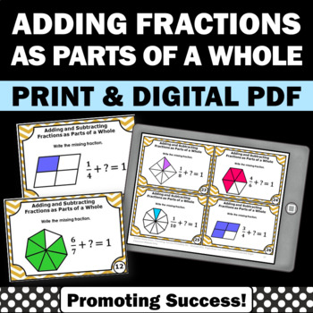 Adding Fractions Task Cards, 4th Grade Math Review Games, SCOOT